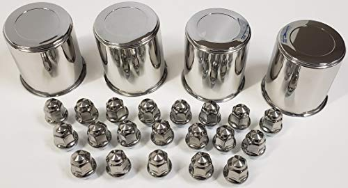 4 Trailer Wheel Lug and Cap Sets - Stainless Hub Cover 5 SS Lugs 3.19in. Center