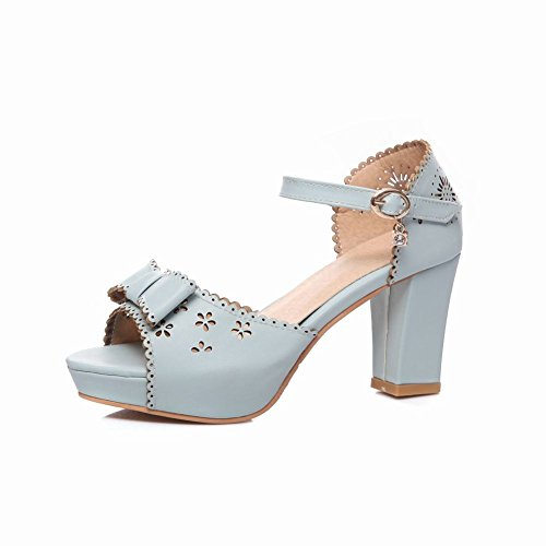 Charm Foot Womens Fashion Open Toe Bows Ankle Strap High Heel Heeled Sandals Blue Qn1YK58yP