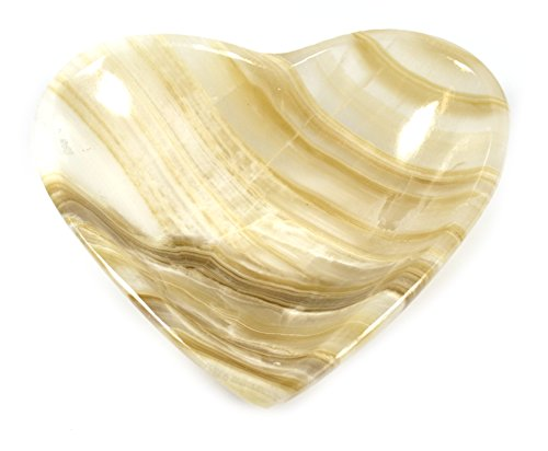 - Vibrant Amber Crystal Stone Heart-Shaped Bowl, 5