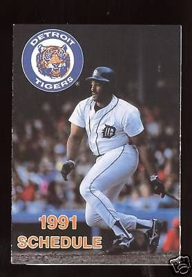 Mlb Baseball Schedule (1991 Detroit Tigers MLB Baseball Schedule MINT)