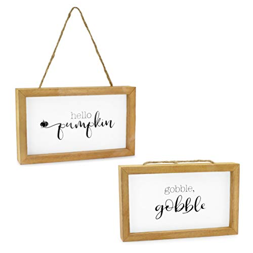 AuldHome Farmhouse Decor Fall Theme Wood Signs (Set of 2); Door Hanger Welcome Harvest Thanksgiving Autumn Seasonal Plaques 8.5 x 5 inches (Fall Hello)