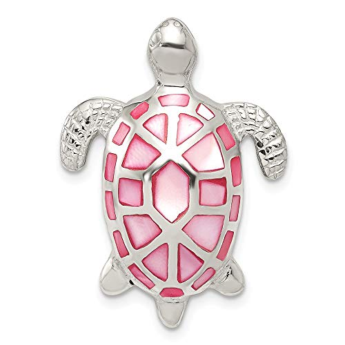 925 Sterling Silver Pink Mother Of Pearl Turtle Slide Necklace Pendant Charm Chain Fine Jewelry Gifts For Women For Her