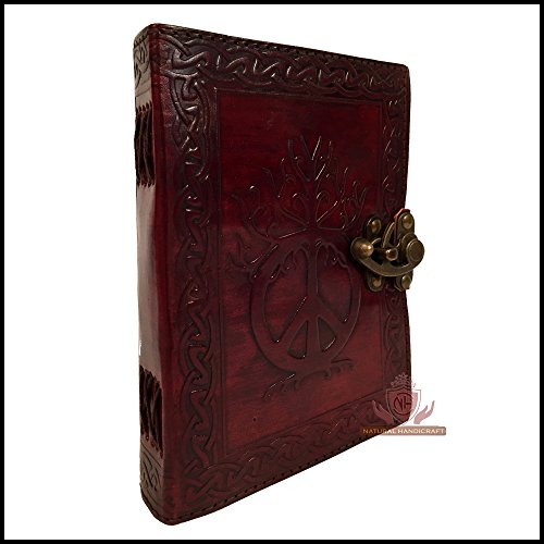 Sign of Peace Leather Journal Brown Notebook Embossed Writing Handbook Travel Diary Book of Shadows Handmade Diary Appointment Organizer Daily Planner Office Notepad College Sketchbook 5 x 7 inches