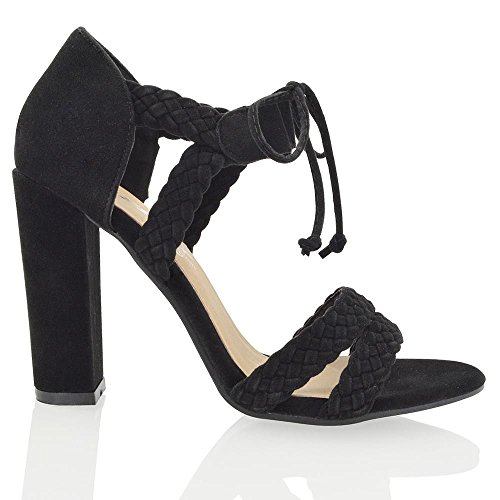 High Strappy Tie Black Faux Lace ESSEX Peep Shoes Up Straps Heels Toe Suede Suede Faux Block GLAM Womens Ankle Woven tBvqpgn1