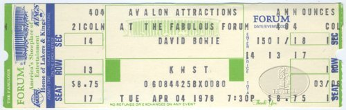 David Bowie 1978 Heroes Unused Concert Ticket LA Forum 4/4/78
