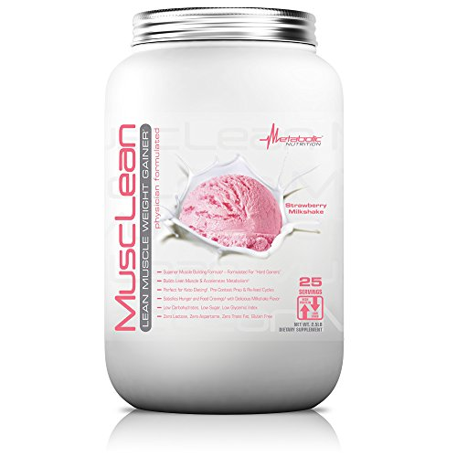 Metabolic Nutrition, Musclean, Whey Protein Meal Replacement, Weight Gainer, High Protein, Low Carb, High Fat, Keto Diet, Digestive Enzymes, 24 Vitamins and Minerals, Strawberry, 2.5 Pound (25 ser)
