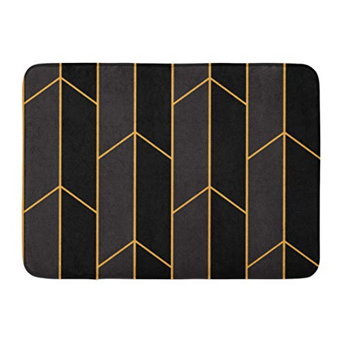 Emvency Doormat Bath Rug Rectangle Bath Mat Non Slip Door Mat Indoor Artdeco Pattern Gold Straight Lines Black Abstract Geometric Beauty Decor Bathroom Rugs 16