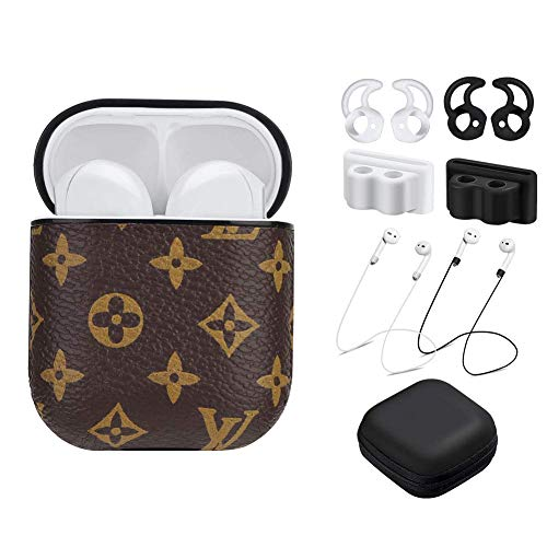 Airpods Leather Case Cover with Hook Grips, Five Star Online Airpod Cover Airpod Accessories Kits Portable Cover and Skin Compatible Apple Earpods Airpods 1/2 Charging Case (Brown/Flower)