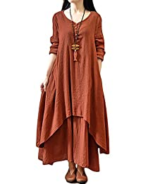AMZ PLUS Women's V Neck Long Sleeve Pullover Loose Swing Fake Two Pieces Dress