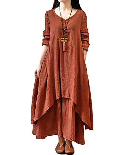 AMZ PLUS Women's V Neck Long Sleeve Pullover Loose Swing Fake Two Pieces Dress Wine Red 5XL (Dresses In 5x For Women)