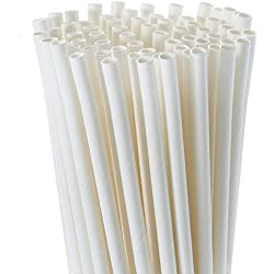Zhanmai 250 Pieces Paper Drinking Straws White Solid Paper Straws Bulk for Wedding Birthday Baby Shower Graduation Party, 7.87 Inches