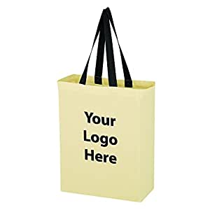 Natural Cotton Canvas Grocery Tote Bag - 200 Quantity - $2.95 Each - PROMOTIONAL PRODUCT / BULK / BRANDED with YOUR LOGO / CUSTOMIZED