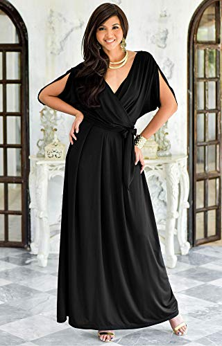 10fb51c94f6 KOH KOH Formal Short Sleeve Cocktail Flowy V-Neck Gown at Amazon Women s  Clothing store