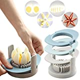 Egg Slicer, AINAAN Multifunctional 3-in-1 Boiled Egg with Stainless Steel Cutting Wire, Egg Chopper/Divider/Dicer/Cutter, Piercing/Garnishing/Slicing Kitchen Cooking Tool(Blue)