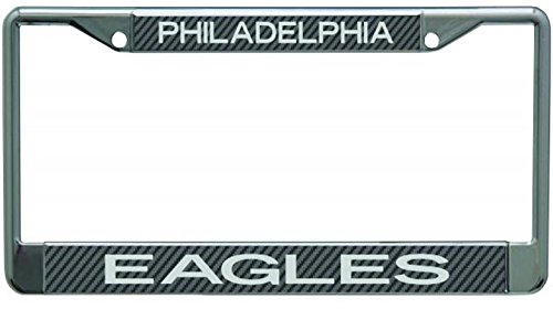 Philadelphia Eagles Carbon Fiber Design LASER FRAME Chrome Metal License Plate Tag Cover Football ()