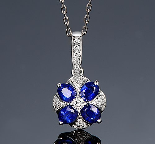 Solid 18k White gold Pendant,0.18ct SI-H Diamond pendant for necklace,1.06ct Pear Natural Blue Sapphire,Pave - Ct Diamond Si 0.18