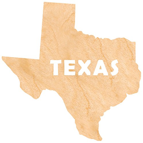 aMonogram Art Unlimited State Of Texas Wooden Shape With State Name and 1/4 Burch plywood Wall Decor, 18''