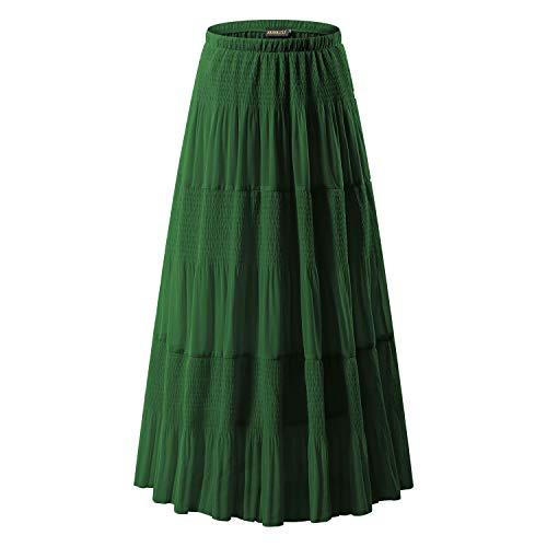 Spandex Skirt Reversible (NASHALYLY Womens Chiffon Retro Long Maxi Skirt Vintage Dress - Elastic High Waist Pleated A-Line Flared Maxi Skirts (Green, L))