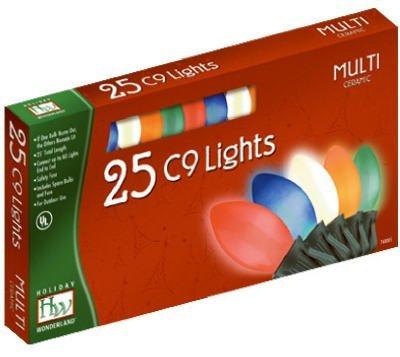 Holiday Wonderland 2924-88 Christmas Lights Set Multi-Color Ceramic 25-Count C9