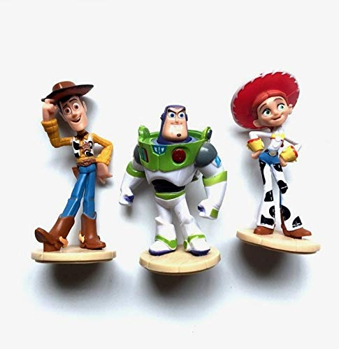 PAPRING Set 3 Toy Toys Action Figure 3-3.8 inch Hot PVC Figures Buzz Lightyear Sheriff Woody Jessie Small Model Mini Doll Christmas Halloween Birthday Gifts Cute Decoration Collectible for Kids Adults ()
