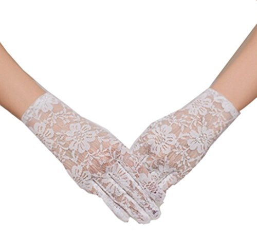 Snow Lotus Women's Lace Wrist Length Gloves (White, One -