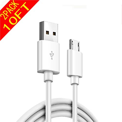 10Ft 2Pack Extra Long Fast Charger Cord ,Noodle Micro USB 2.0 Charging Cable for Android Phone,Samsung Galaxy S7 EdgeS6 Edge/Note 5/4,Honor 6X/LG/Echo Dot