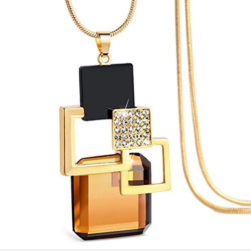 HeyGirl Korean Fashion Wild Pendant Retro Sweater Chain Cube jewelry Clothes Accessories(Champagne) from HeyGirl