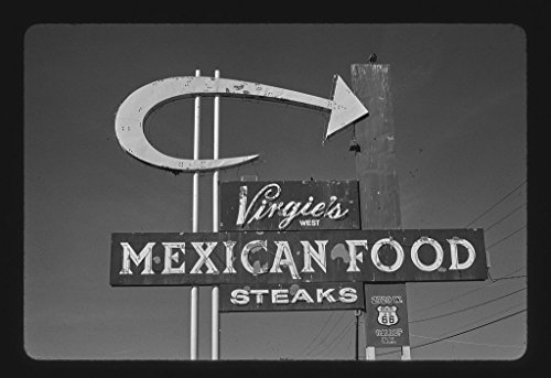 8 x 12 BW Photo of: Virgie's Mexican Food sign, Grants, New Mexico 2003 Roadside America Margolies, John, photographerMargolies, John, photographer 39e by Vintography