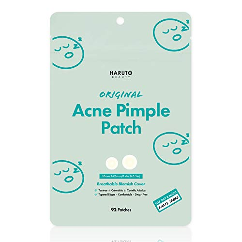 HARUTO BEAUTY Original Acne Pimple Patch -( 92 patches /1Pack), Tea tree, Hydrocolloid spot therapeutic patch, Invisible blemish spot remedy, Absolving sebum fast & simple patches for face