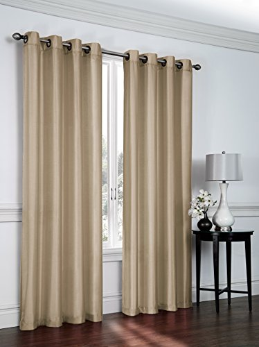 Regal Home Collections Artisan 54-Inch Wide X 84-Inch Long Faux Silk Window Panel with Grommets, Tan