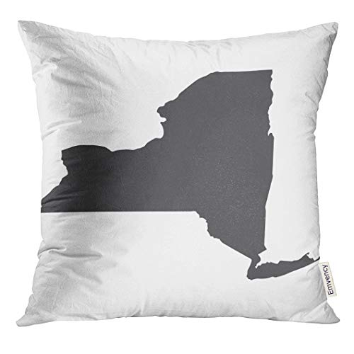 UPOOS Throw Pillow Cover Shape New York State Map in Black on White Abstract Albany Decorative Pillow Case Home Decor Square 18x18 Inches Pillowcase ()