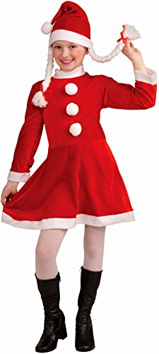 Forum Novelties Deluxe Lil Ms. Santa's Helper Costume, Child Large (Santa Claus Costume For Girl)