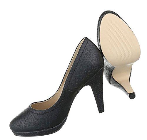 Damen Pumps Schuhe High Heels Stöckelschuhe Stiletto Plateau Schwarz 37 D6CX7dyu8