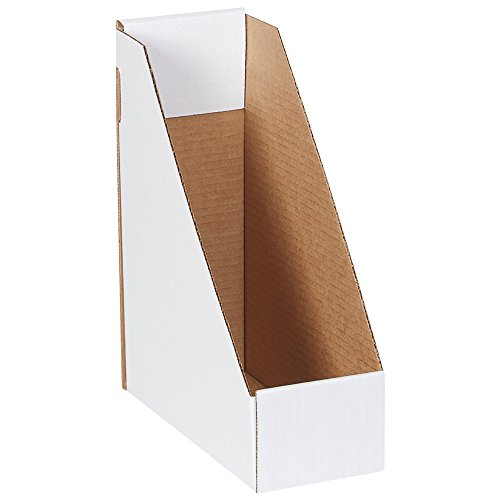Boxes Fast BFMDIS105 Corrugated Cardboard Magazine File Holder, 9 1/4 x 4 x 12 Inches, One-Piece Magazine Storage Boxes, Medium White Magazine Holder Boxes (Pack of 50)
