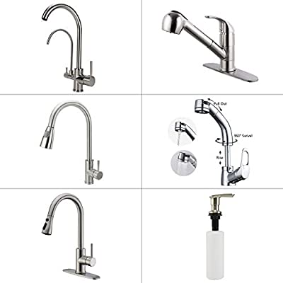 Neady Best Commercial Stainless Steel Single Handle Kitchen Sink Faucet, Hot and Cold and Pure Water Single Lever Kitchen Faucets Kitchen Faucet Double Spouts