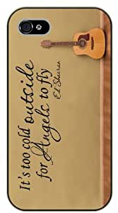 iPhone 5 / 5s It's too cold outside for angels to fly, guitar, black plastic case / Ed Sheeran Inspirational and motivational life quotes / SURELOCK AUTHENTIC