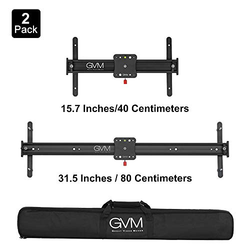 GVM 2 Size 15.7'' and 31.5'' Portable Aluminum Alloy Camera Slider Video Stabilizer Rail with 4 Roller Bearings for DSLR Camera DV Video Camcorder Film Photography, Dolly Track Loads up to 11 pounds