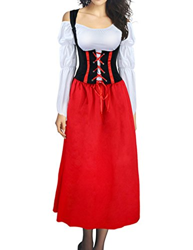 Quesera women's Oktoberfest Costume Renaissance Beer Maid Wench Halloween Dress, Red, Tagsize (Tavern Maiden)