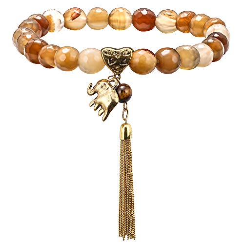 Stone Bead Bracelet for Women - 8mm Natural Section Agate Stone Stone Beads Bracelet, Men Women Stress Relief Yoga Beads Elastic Semi-Precious Tiger Section Agate Tassel Elephant Bracelet Bangle