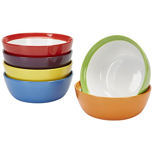 of 6, Colorful Meal Stoneware (Breakfast Bowls) ()