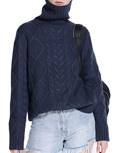 Ailaile Cashmere Wool Sweater Women's Twist Thick Turtleneck Pullover Female Loose Knitted Jumper (XL/US Size 16-20, Dark Blue)