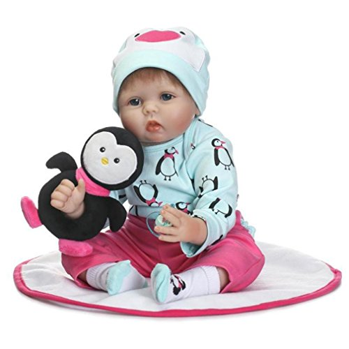 - 21.6-inch Washable Soft Baby Doll With Hat and Penguin Plush Doll for Children 18 months or Older - Pausseo New Kids Reborn Newborn Handmade Lifelike Silicone Playmate Birthday Gift Doll for Toddler
