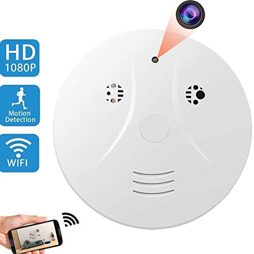 Upgraded WiFi Hidden Spy Camera Smoke Detector Camera CAMXSW HD 1080P Wifiless Nanny Cam with Motion Detection for Home Security Video Camera Support Loop Recording/Night Vision