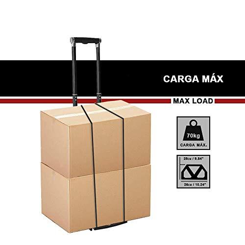 OUXI Carretilla Plegable,Mini Carrito Incluye Mango Extensible y Correa de Fijaci/ón El/ástica,Carrito de Mano Port/átil Multifuncional,Carretilla de Transporte para Equipaje Cargas Pesadas,M/áxima 70 kg