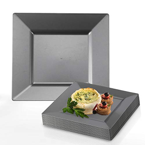 Elegant Disposable Plastic Dinner Plate Set - 120 Heavy Duty Fancy Square Silver Dinner Plates - 9.5