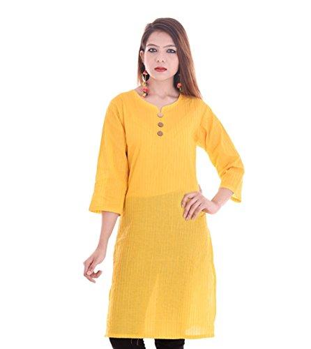 Chichi Indian Women Kurta Kurti 3/4 Sleeve X-Large Size Plain Round Yellow Top by CHI