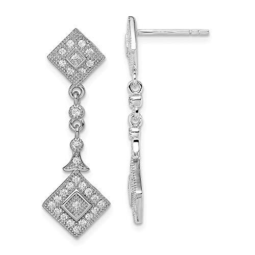 925 Sterling Silver Cubic Zirconia Cz Squares Drop Dangle Chandelier Post Stud Earrings Fine Jewelry Gifts For Women For Her