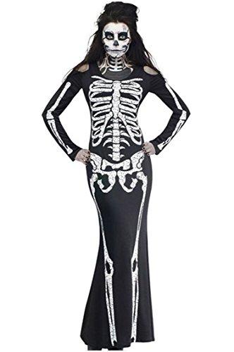 [Fashionclubs Halloween Women Demon Witch Costumes Long Sleeve Skeleton Print Dress] (Female Demon Costumes)
