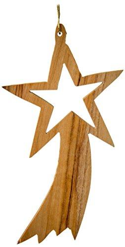 Wood Star Ornaments (Earthwood Olive Wood Plain Shooting Star Ornament)