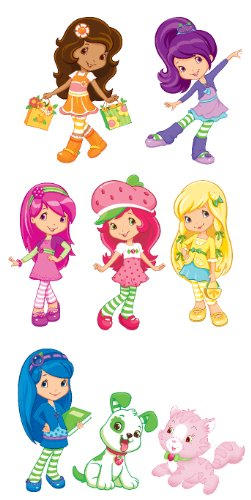 Strawberry Shortcake Set of 6 Characters Removable Wall Stickers with Free Custard (Strawberry Shortcake Wall Stickers)